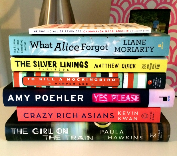books we should all be feminists what alice forgot silver linings playbook to kill a mockingbird yes please crazy rich asians the girl on the train